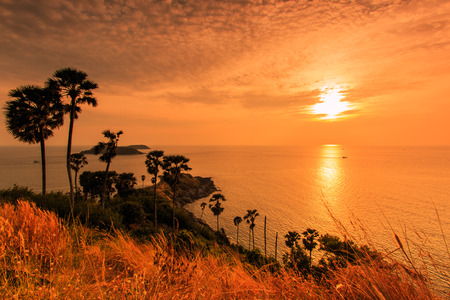 phuket province: Sunset view Promthep Cape is a mountain of rock at Phuket province asia Thailand
