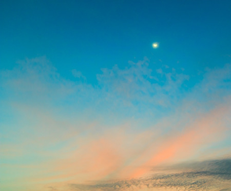 full moon effect: Sunset blue sky and clouds backgrounds  Stock Photo