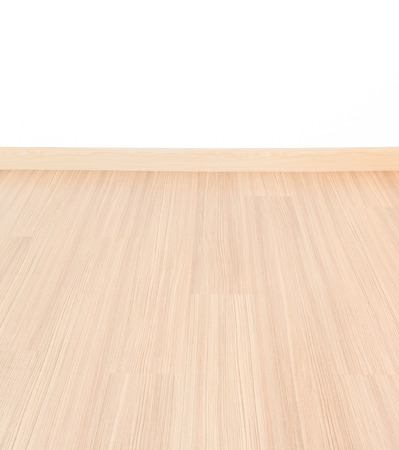 Empty room with wall and wooden floor laminate background  photo