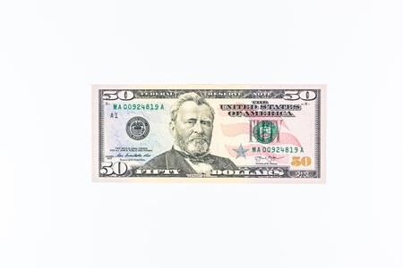 50 dollar bill: dollars pile as background Stock Photo
