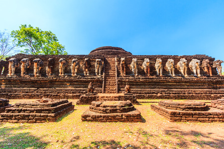 mai: Ancient City Old town and Old Temple Old Buddha ( Kamphaeng Phet Historical Park) in Kamphaeng Phet Asia Thailand Stock Photo