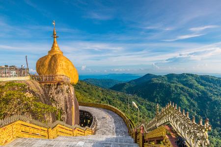 Kyaikhtiyo of Gouden Rots, Golden rock, Myanmar. Stockfoto