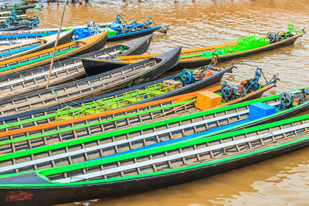 long tailed boat: Boat in Inle lake, Shan state of Myanmar Stock Photo