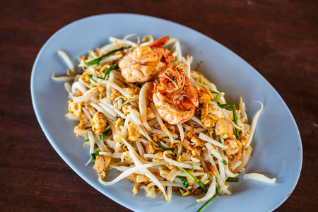 Pad Thai, stir-fried rice noodles, is one of Thailand\ photo