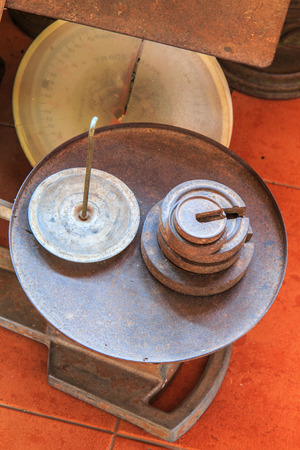 kilo: Old scales Old weigh old kilo Stock Photo