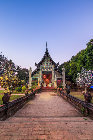 Old wooden Temple of Wat Lok Molee Chiang mai Thailand.They are public domain or treasure of Buddhism, no restrict in copy or use