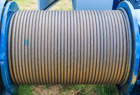 鋼のワイヤー ロープ ケーブルのクローズ アップ スリング