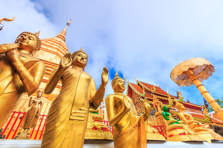 Golden pagoda wat Phra That Doi Suthep chiangmai Thailand, They are public domain or treasure of Buddhism, no restrict in copy or use photo