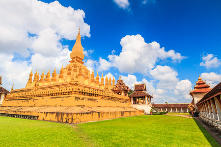 restrict: Temple golden Wat Thap Luang in Vientiane, Laos , They are public domain or treasure of Buddhism, no restrict in copy or use Stock Photo