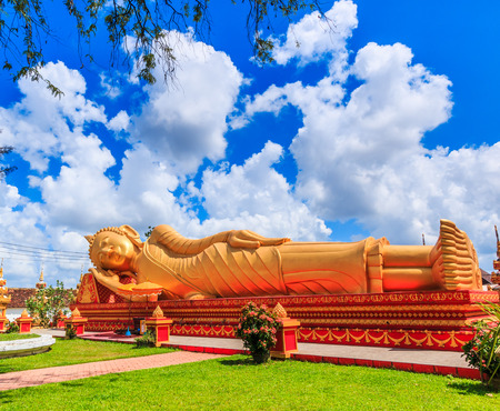 restrict: sleep buddha in temple Vientiane, Laos , They are public domain or treasure of Buddhism, no restrict in copy or use Stock Photo