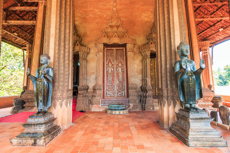 restrict: Haw Pha Kaeo or (wat Pha Kaeo) in Vientiane Laos , They are public domain or treasure of Buddhism, no restrict in copy or use Stock Photo