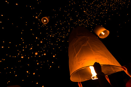 Floating lantern at Chiang Mai Province, Asia Thailand photo
