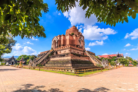 restrict: Ancient pagoda at Wat Chedi Luang temple 700 years in Chiang Mai, Asia Thailand, They are public domain or treasure of Buddhism, no restrict in copy or use