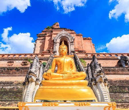 buddhist structures: Ancient pagoda at Wat Chedi Luang temple 700 years in Chiang Mai, Asia Thailand, They are public domain or treasure of Buddhism, no restrict in copy or use