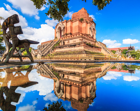 bagan: Ancient pagoda at Wat Chedi Luang temple 700 years in Chiang Mai, Asia Thailand, They are public domain or treasure of Buddhism, no restrict in copy or use