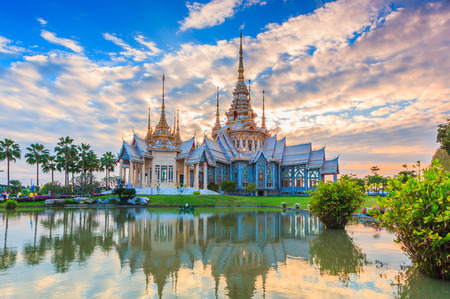emerald city: Wat thai, sunset in temple Thailand,They are public domain or treasure of Buddhism, no restrict in copy or use Stock Photo