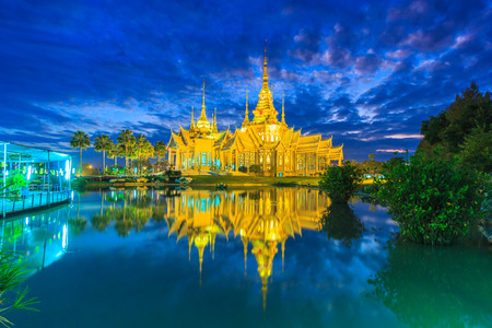 the emerald city: Wat thai, sunset in temple Thailand,They are public domain or treasure of Buddhism, no restrict in copy or use Stock Photo