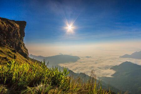 Landscape sunrise in nature at Phu chi fa in Chiang rai,Thailand