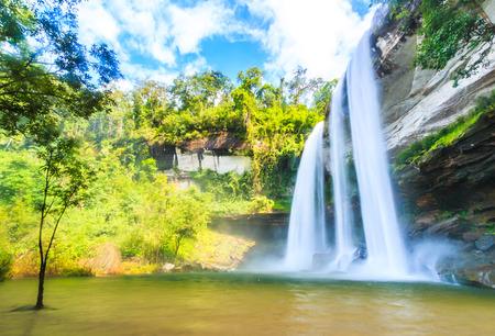 rains: Huai Luang Waterfall at Ubon Ratchathani in Thailand Asia Stock Photo