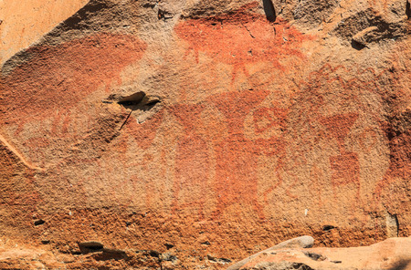prehistoric: Abstract human art at Pha Taem prehistoric cliff painting which date back three thousands to four thousands years before history,Pha Taem National Park Ubon Ratchathani (Ubolratchathani) Thailand