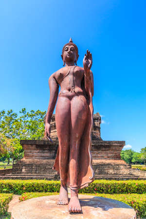 restrict: Standing Buddha in Sukhothai historical park, ancient Buddha Thailand, They are public domain or treasure of Buddhism, no restrict in copy or use