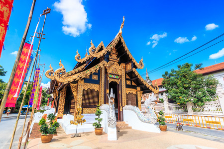 restrict: Wat inthakhin saduemuang 700 years, Old wooden temple in Chiang Mai Thailand, They are public domain or treasure of Buddhism, no restrict in copy or use Stock Photo