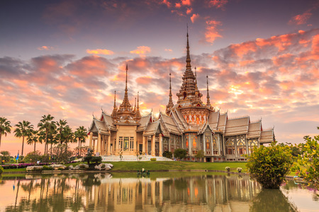 the majestic: Wat thai, sunset in temple Thailand,They are public domain or treasure of Buddhism, no restrict in copy or use Stock Photo
