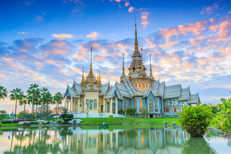 thailand culture: Wat thai, sunset in temple Thailand,They are public domain or treasure of Buddhism, no restrict in copy or use Stock Photo