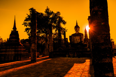 angkor wat: Sukhothai historical park, the old town of Thailand , They are public domain or treasure of Buddhism, no restrict in copy or use