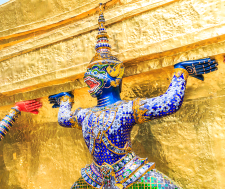 telamon: Warrior statue at the temple Wat Phra Kaeo. Bangkok. Thailand, They are public domain or treasure of Buddhism, no restrict in copy or use