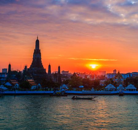 restrict: Wat Arun Ratchawararam Ratchawaramahawihan or Wat Arun (Temple of Dawn) at sunset, Bangkok, Thailand,They are public domain or treasure of Buddhism, no restrict in copy or use