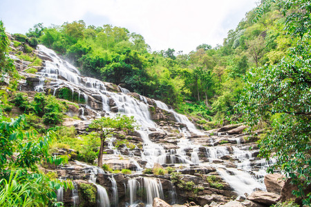 water flow: Mae Ya waterfall in Chiang Mai Asia Thailand