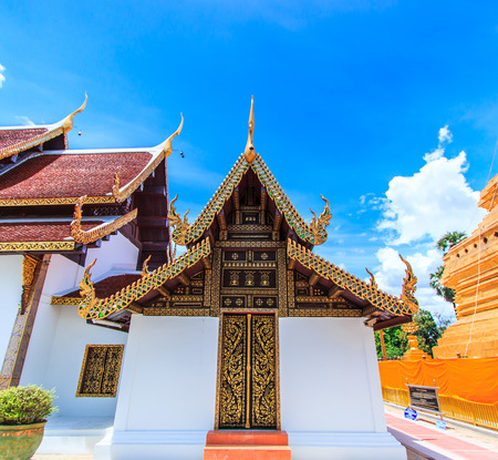 public domain: Temple  Wat Phra Sri Chomtong Phra That Chom Thong Of Chiang Mai ThailandThey are public domain or treasure of Buddhism no restrict in copy or use Stock Photo