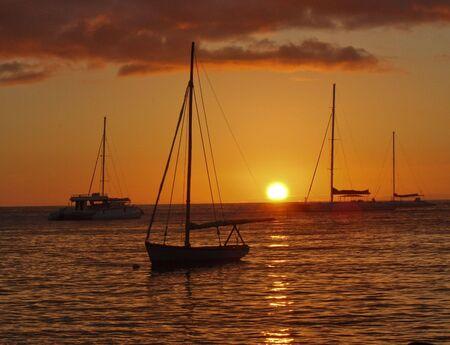 Beach Sunset at the waterfront in La Romana, Dominican Republic Stockfoto