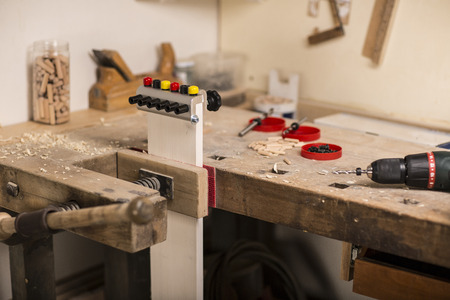 carpenter's bench: Carpenters bench with drill Stock Photo