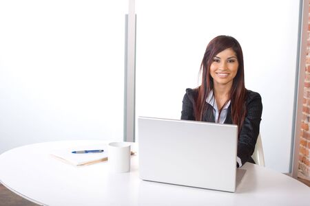 Business Woman on laptop in a modern loft office Stock Photo