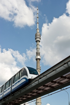 tv tower ostankino and monorail train in moscow, russia Stock Photo
