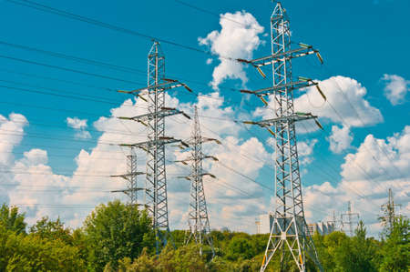Power line towers in Moscow, Russia, Europe photo