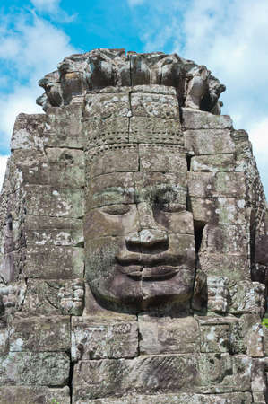 Stone face of Bodhisattva Lokesvara, Bayon Temple - Angkor Area, near Siem Reap, Cambodia, Southeast Asia