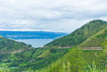 View of mountains in Sumatra and Lake Toba, Indonesia, Southeast Asia Stock Photo - 12997350