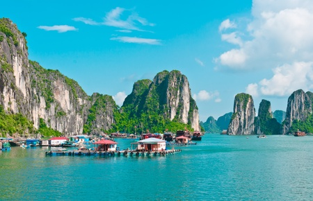 Floating village in Halong Bay, Vietnam, Southeast Asia Stock Photo