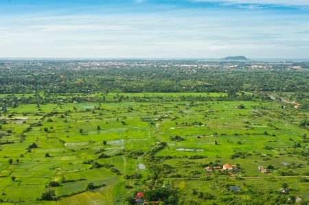 Aerial view from balloon of Siem Reap city and fields, Angkor area, Cambodia, Southeast Asia