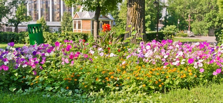 Landscaped flower bed in park, Moscow, Russia, East Europe