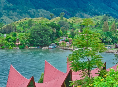 Samosir Island on Lake Toba, Sumatra, Indonesia, Southeast Asia 스톡 콘텐츠