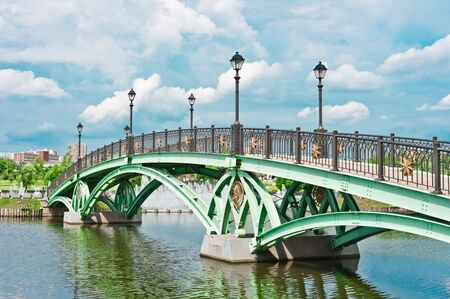 Bridge and river in Tsaritsino Park, Moscow, Russia, East Europe Stock Photo