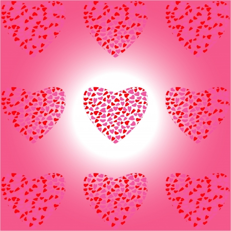 Valentine Heart of Hearts on white-pink background Stock Vector - 14002109