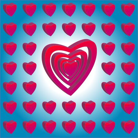 whiteblue: Valentine Hearts on white-blue background