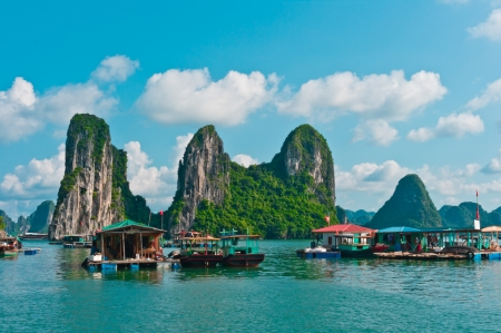 View of Floating Fishing Village in Halong Bay, Vietnam, Southeast Asia Stock Photo