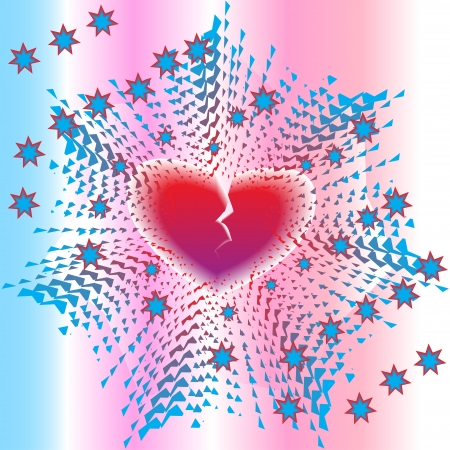 Explosion of loving heart with stars on abstract background Vector