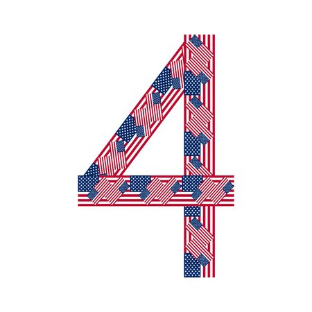 Number 4 made of USA flags on white background from USA flag collection Vector